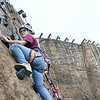 Park Middle school student Lauren Stafford, climbs the rock climbing wall during WVU Adventure School held at the Summit Bechtel Reserve in Glen Jean. Students were first taught the science of rock climing before adventuring up the wall.<br /> (Rick Barbero/The Register-Herald)