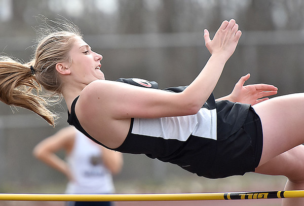 (Brad Davis/The Register-Herald) Oak Hill's Destiny Minor competes in the high jump during the Dickey's Invitational Friday afternoon at Independence High School.