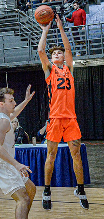F. Brian Ferguson/Register-Herald Pikview's Kobey Taylor-Williams puts up a three pointer for Mid State Automotive.