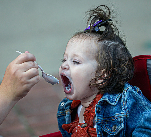 F. Brian Ferguson/Register-Herald= Katelyn Cook, 15 months. of Beckley, takes in the tastes during Saturday's Chili Night in Beckley.