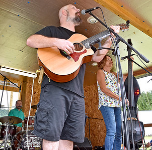 (Brad Davis/The Register-Herald) The Bandwagon Band out of Hamlin performs at the Kirkwood Wine Festival Sunday afternoon in Summersville.