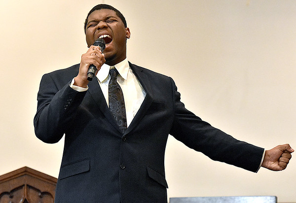 (Brad Davis/The Register-Herald) Al Dean Jr. performs during Heart of God Ministries' One Voice One Sound Celebration of Gospel Sunday evening at the Kanawha Street Church. The jam-packed musical event was put together by the church's Soul to Soul Ministry and featured a large gathering of singers, psalmists, poets and other gospel talents from around the state.