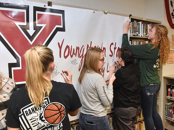 (Brad Davis/The Register-Herald) Wyoming East basketball player Gabby Lupardus' NLI signing with Youngstown State, November 8, 2017.
