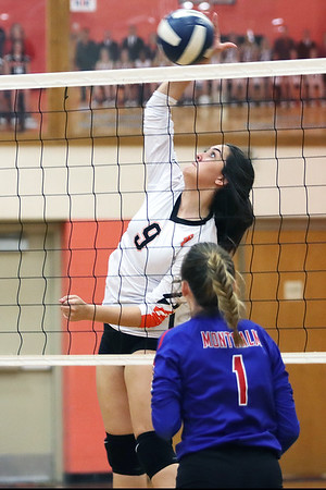 Summers County's Grace Harvey guards the net against Montcalm during Thurday's game at Summers County High School in Hinton. Jenny Harnish/The Register-Herald