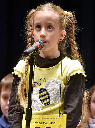 (Brad Davis/The Register-Herald) Greenbrier County's Larissa Wickline takes a turn during the 2017 Gazette-Mail Regional Spelling Bee Saturday afternoon at Capital High School in Charleston.