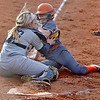 (Brad Davis/The Register-Herald) Richwood's Kayley Twiddy is stopped in her tracks as a Shady Spring catcher Hannah Daniels makes the tag while blocking the plate during the Tigers' win over the Lady Jacks Wednesday evening in Shady Spring.