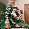 Joyce Yeargan, of Beckley, display some of her seashell artwork.<br /> (Rick Barbero/The Register-Herald)
