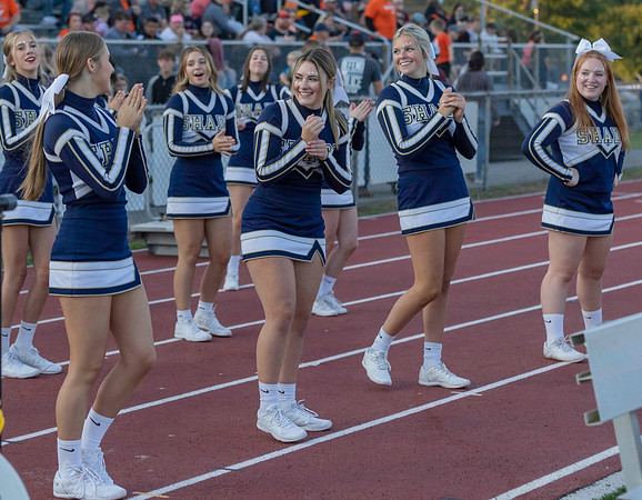 Shady Spring Cheerleaders Tuesday night against Summers County Tuesday night.<br /> Tina Laney/for The Register-Herald