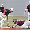 Anthony Stehlin, right of Concord, makes it to second on a steal before getting tagged out by Connor Watt, of Wheeling.<br /> (Rick Barbero/The Register-Herald)