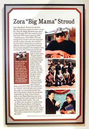 Plaque that now hangs honoring Zora Stroud at the Rahall museum. Jon C. Hancock/for The Register-Herald