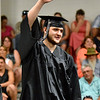 (Brad Davis/The Register-Herald) Graduating Westside senior Michael Hatfield waves to the crowd as he's announced during the school's 2017 Commencement Sunday afternoon in Clear Fork.