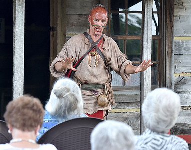 """(Brad Davis/The Register-Herald) Cherokee warrior Ostenaco (1703-1780), a.k.a. Hurricane resident Doug Wood, a character actor with the West Virginia Humanities Council, tells the story of his life during a special Living History presentation put on by the WVHC, the city of Beckley and the Raleigh County Historical Society Sunday afternoon at Wildwood House. Ostenaco, also known by his warrior name Utsidihi, or """"Man Killer,"""" was most well known as great orator and a leading figure in diplomacy with British colonial authorities, as well as fighting against the French during the period."""