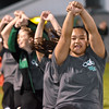 (Brad Davis/The Register-Herald) Wyoming East cheerleaders perform during the Battle for Wyoming County Friday night in New Richmond.
