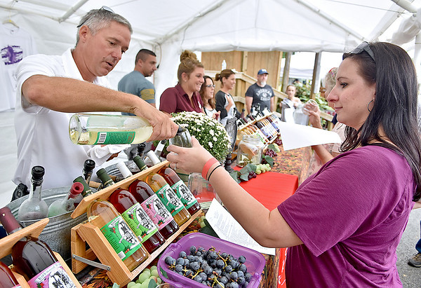 (Brad Davis/The Register-Herald) Winery hand Brad Anderson pours a sample for Pittsburgh, Pa. resident Sam Aaron at the Kirkwood Wine Festival Sunday afternoon in Summersville.