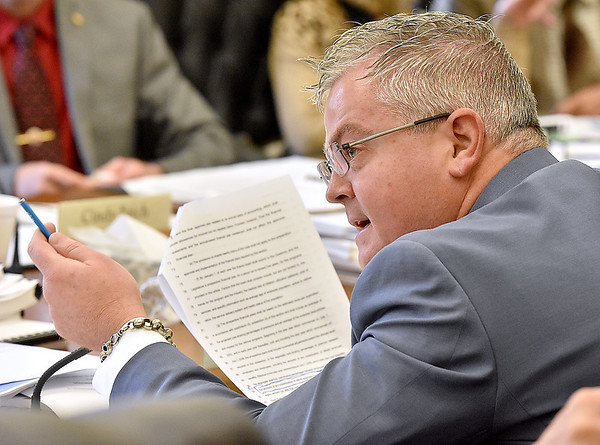 (Brad Davis/The Register-Herald) Delegate Mick Bates participates in a House Finance Committee meeting concerning the fate of Jackie Withrow Hospital, among other items of legislation, Monday afternoon at the state capital.