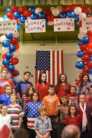 """Fifth grade class sang, """"We Remember"""" during a Vereran's Day program held at Lester Elementary School Wednesday afternoon.<br /> (Rick Barbero/The Register-Herald"""