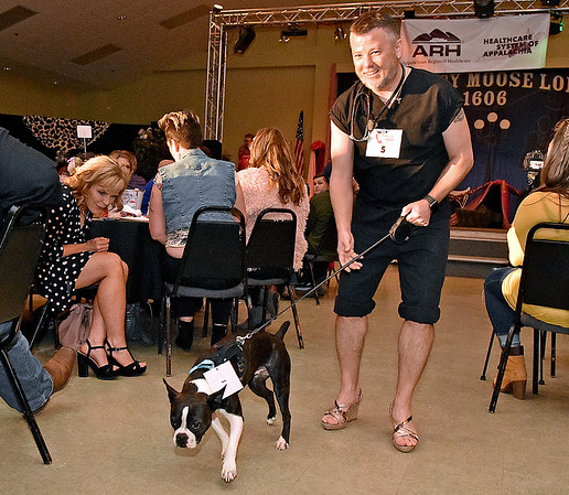 """(Brad Davis/The Register-Herald) 2020 Hunks in Heels """"Fur"""" Real fundraising event at the Beckley Moose Lodge."""