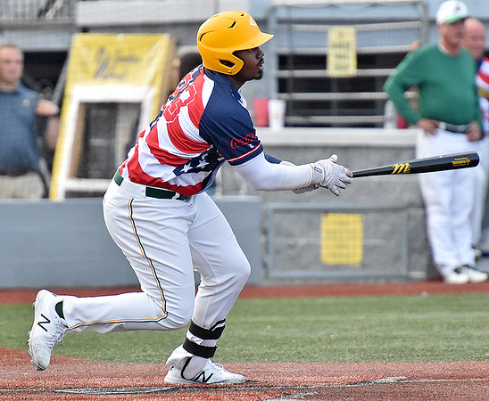 (Brad Davis/The Register-Herald) Miners batter Mason Washington connects for one of his three hits on the night against Butler Saturday night at Linda K. Epling Stadium.
