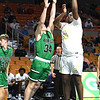 Shady Spring vs Winfield during the state semi-final Class AAA game held at the Charleston Coliseum & Convention Center Friday morning. Shady won 87-45<br /> (Rick Barbero/The Register-Herald)