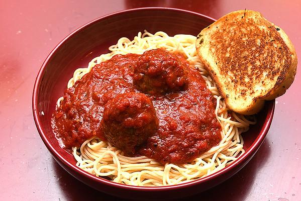 Spaghetti w/meatballs at Giuseppe's Restaurant on Main Street in Mt. Hope.<br /> (Rick Barbero/The Register-Herald.com