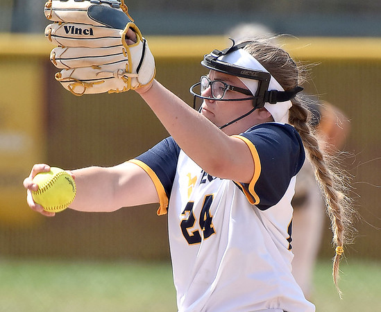 (Brad Davis/The Register-Herald) WVU Tech starting pitcher Amanda McDonald delivers during the second game of a doubleheader against Cincinnati Christian Saturday afternoon at Woodrow Wilson High School.