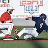(Brad Davis/The Register-Herald) Liberty 2nd baseman Tyler Mullens is just late getting a tag down as Nicholas County's Jacob Grose slides in for a double Wednesday evening at Linda K. Epling Stadium.
