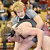 (Brad Davis/The Register-Herald) Liberty's Jeff Bowles, top, takes on Oak Hill's Jordan Pollastrini in a 220-pound exhibition match during the Raider Rumble Saturday afternoon in Glen Daniel. Liberty's Bowles won the match.