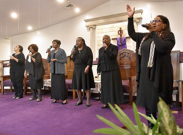 (Brad Davis/The Register-Herald) The United in Christ Praise Team performs during Heart of God Ministries' One Voice One Sound Celebration of Gospel Sunday evening at the Kanawha Street Church. The jam-packed musical event was put together by the church's Soul to Soul Ministry and featured a large gathering of singers, psalmists, poets and other gospel talents from around the state.
