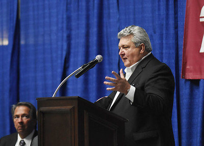Greg Darby, with Little General Stores and the recipient of the 2018 Community Service Award, speaks during the 98th annual Beckley-Raleigh County Chamber of Commerce Annual Dinner at the convention center in Beckley Friday.(Chris Jackson/The Register-Herald)