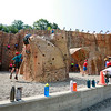 Scouts climb on the climbing wall at the Adventure Zone during the 2017 National Jamboree at The Summit Bechtel Reserve near Mt. Hope. (Chris Jackson/The Register-Herald)