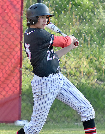(Brad Davis/The Register-Herald) Greater Beckley Christian's Cole Kipps drives in a run for the Crusaders against Summers County Friday evening at Park Middle School.
