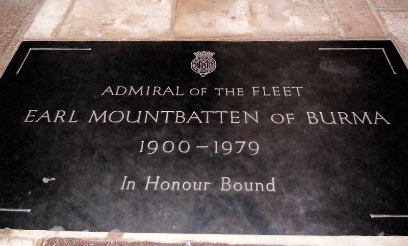Earl Mountbatten of Burma is interred beneath a simple slate slab.