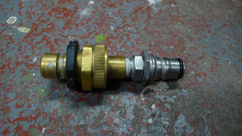 This converts a quick release hose coupling to fit a ball-lock out valve.  It is great for rinsing out drink lines from a utility sink.
