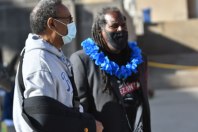 James Qadhafi Shelby, leader of the Kansas City Homeless Union talks with Emmanuel Cleaver II on April 1 outside City Hall in downtown Kansas City. Carlos Moreno photo