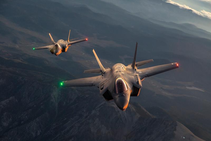 """AF-3, Major """"Beast"""" Bearce and AF-6, Col """"Ivy"""" Spalding, from KC-135 Tanker(A/C1506) in ISB during Sunset, 9 September 2019"""