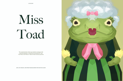"Sum Yue Guan '19 – Digital Art, ""Miss Toad"" – Honorable Mention"