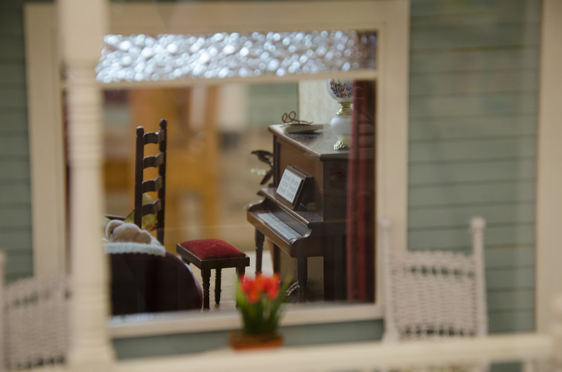 Inside the dollhouse in the Kids' World in Arlington Heights Memorial Library.