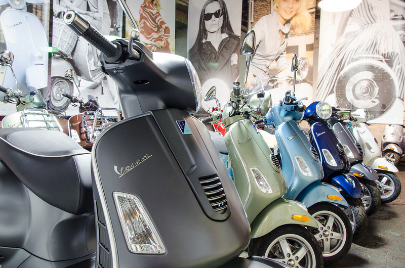 Vespas at Motoworks Chicago.