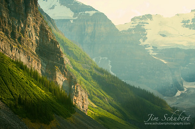 Lake Louise bathed in sunlight