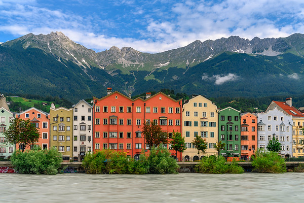 Houses Along The River In Inssbruck Austria