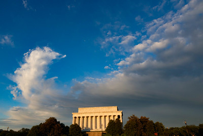 Sunset in Washington, D.C. with storm clouds