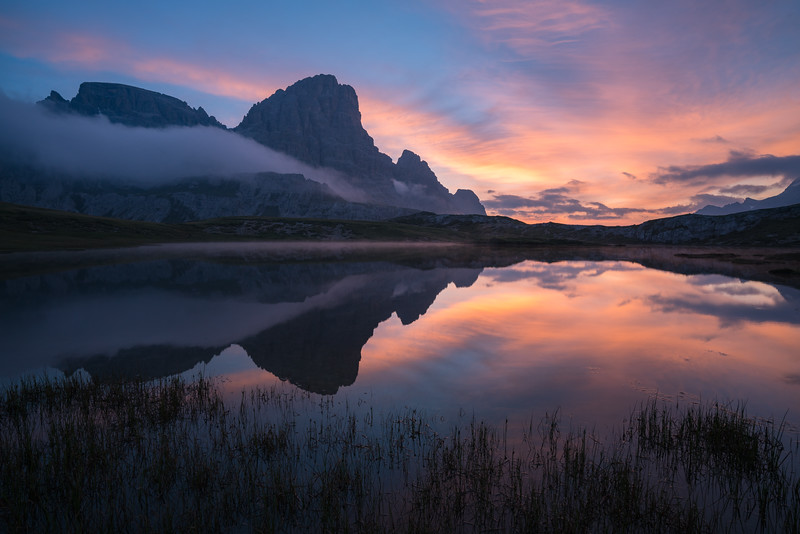 Sunrise in the Dolomites.