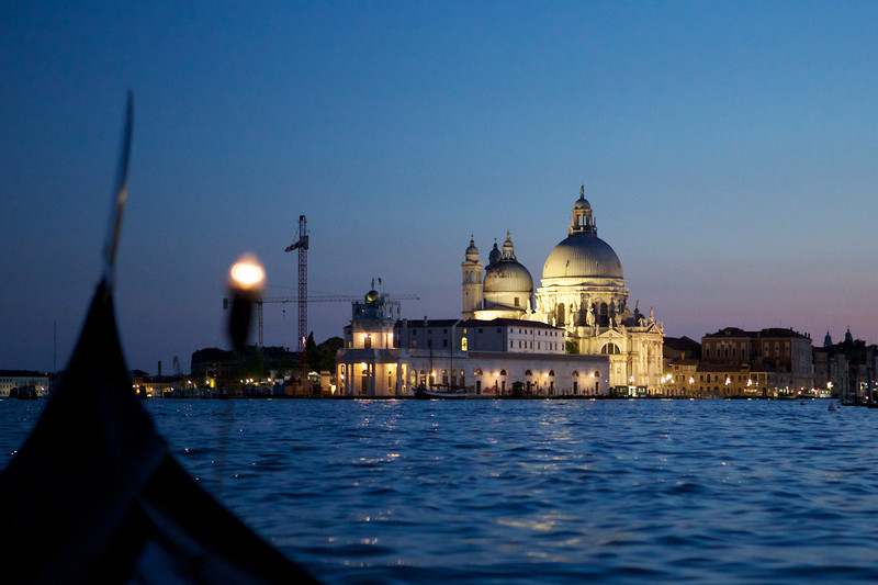 Venice just after sunset, taken from a gondola.