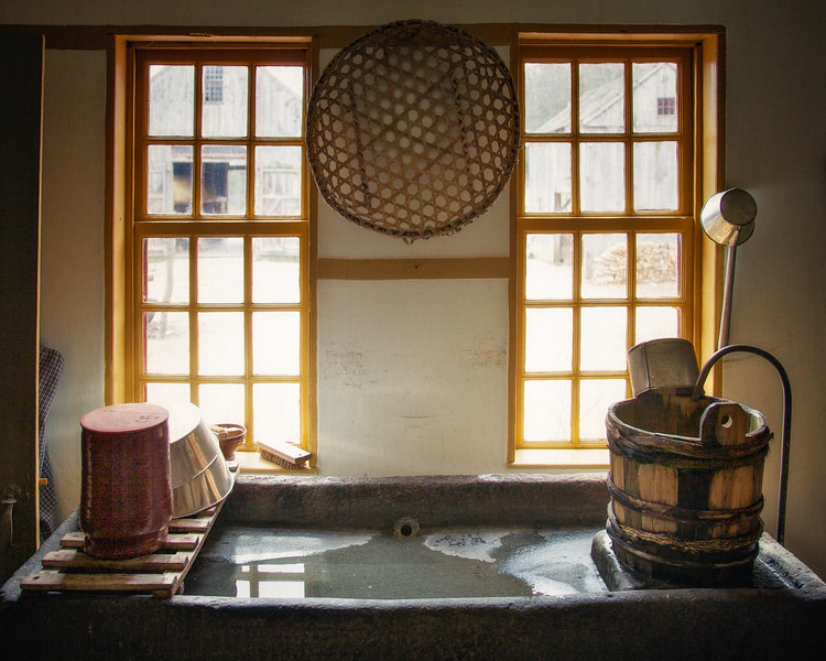 Nineteenth Century Daily Life:  Stone Dry Sink With Buckets. Freeman Farm, c. 1800-1810. Old Sturbridge Village, Worcester County, Massachusetts