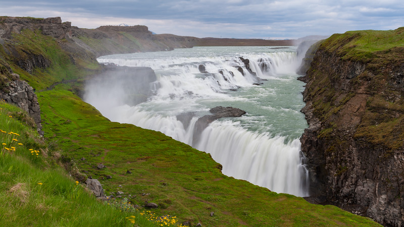 View of Gulfoss, the most popular waterfall in Iceland.