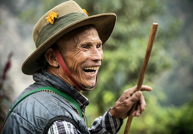 The Baron of Landruk. This happy gentleman greeted us on our trek in the Annapurna Range with a smile and a dance. October 2018. Photo by Ben Marans.