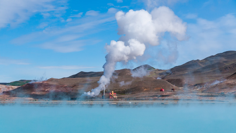 Geothermal power station near Lake Myvatn, Iceland.