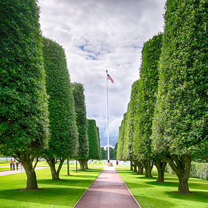 Standing at Attention on Flag Day This is the scene you find as you approach the American Cemetery in Normandy by Omaha Beach. The very tall trees have been manicured to focus your attention to the flag pole, while giving the sense of standing at attention. It sets the mood quite well as you approach the site of so many heros.
