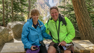 Linda and I at Yellowstone Falls in Yellowstone National Park during our 3 month RV journey around the United States.