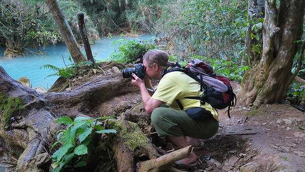 Here I am assuming the position at the Kuang Si waterfalls near Luang Prabang, Laos.